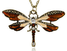 Rose Drawn Enamel Bug Wing Crystal Rhinestone Small Dragonfly Pendant Necklace