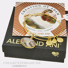 Authentic Alex and Ani HOLY ONES, Creation Of Adam Yellow Gold Bangle
