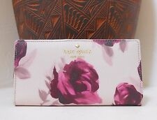 NWT Kate Spade  Hawthorne Lane Roses  Stacy Bifold Wallet Plum Dawn New $100