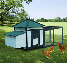 PawHut Deluxe Wooden Chicken Coop Poultry House Nesting Box Run Backyard