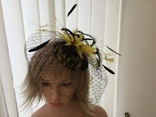YELLOW & BLACK  FEATHER / BIRD CAGE NETTING   FASCINATOR , MOTHER OF BRIDE