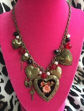 Betsey Johnson Vintage Think Of Me Victorian Rose Cameo Pearl Locket Necklace