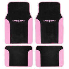Car Floor Mats Carpet Tattoo Design 2 Tone Color Liner 4 Piece Pink Black