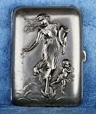 Antique French Art Nouveau Dropsy Girl Silver Plated Repoussé Cigarette Box