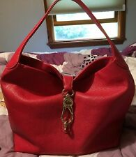 Dooney & Bourke Leather Hobo with Logo Lock in Strawberry $279