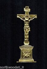 GOLD CRUCIFIX RELIGIOUS CATHOLIC CHURCH ALTAR SHRINE FOIL GERMANY DRESDEN PAPER