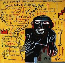 """Jean Michel Basquiat """"All Colored Cast"""" HUGE Oil Painting  Canvas 24x24"""""""