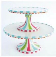 NWT SET OF 2 GLITTERVILLE CAKE STANDS CERAMIC BIRTHDAY CUPCAKE TOWN