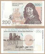 France 200 Francs 2015 UNC SPECIMEN Test Note Banknote - Descartes - w DRY SEAL