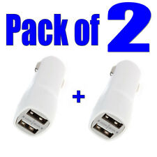 2 X Bianco Dual USB In-Car CARICABATTERIE DOPPIA PORTA 1,0 A 2,1 a per iPhone 6/5 / 4 iPad Mini