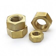 Qty 2 - M10 x 1.5mm Pitch SOLID BRASS FULL HEX NUTS FOR BOLTS & SCREWS DIN934