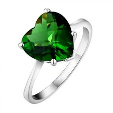 #R218 1.6ct. Forest Green Helenite Heart Checkerboard Sterling Silver Ring