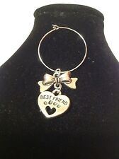 best friend bow wine glass charm silver plated..