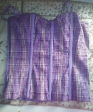 Victoria's Secret Bustier Cotton Top Lavender Purple Plaid Small built in bra