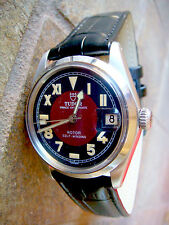 Tudor by ROLEX, 34mm w/BLACKMaroon DIAL, QSet, Keeps Perfect Time