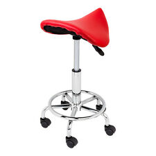 Red Hydraulic Saddle Salon Stool PU Leather Chair Facial Tattoo Massage Medical