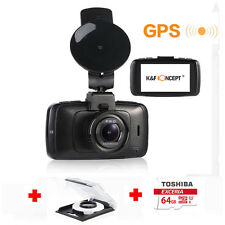 "K&F Concept 2.7"" HD 1296P Car Dash Cam Camera DVR WDR GPS +64GB Card +CPL Filter"
