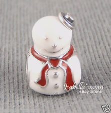 HAPPY SNOWMAN Authentic PANDORA Silver/White & Red Enamel HOLIDAY Charm/Bead NEW