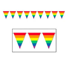 12' Foot Rainbow Gay Pride Flag (Triangle Stripe) Party Banner - Gay and Lesbian