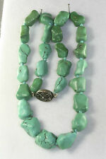 VINTAGE CHINESE STERLING SILVER CHUNKY TURQUOISE NUGGET KNUCKLE BEADS NECKLACE