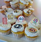 40th Birthday Party Edible Cupcake Toppers Cake Decorations 40 Years Milestone