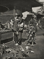 1929 JAPAN TOKYO Woman Fashion Costume Buddhist Pigeons Child Photo Art ~ GRAEFE