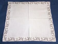 VINTAGE WHITE CENTER-FORAL EDGE LADIES HANDKERCHIEF-HANKY-HAND SEWN FLORAL EDGE