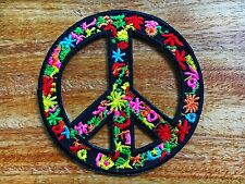 Peace sign hippie boho retro flower power love hippy applique iron on patch