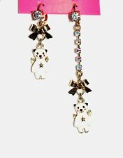 Betsey Johnson Snow Angel Bear Mismatched Dangle Earrings New With Tags