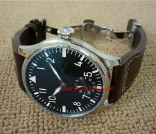 44mm Parnis watch Pilot Hand winding Men's Watch without logo Folding buckle