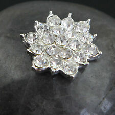 Lot 5 Pcs Clear Rhinestone Flower Silver Alloy Embellishment Flatback Buttons