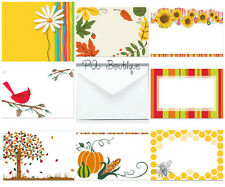 40ct. AUTUMN FALL 8 Styles! Florist Blank Enclosure Cards w/ Small Envelopes Set