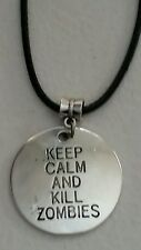 "KEEP CALM AND KILL ZOMBIES BLACK ROPE NECKLACE 17.5""- CHARM-1 1/4""D-WALKING DEAD"