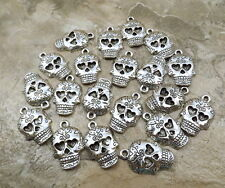 20 Pewter Decorative Skull Charms - 1929