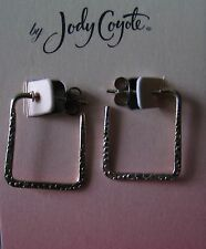 Jody Coyote Earrings JC0556 new hypoallergenic silver hoop square made USA