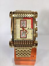 Men Aqua Master Jojo Jojino Joe Rodeo Yellow Metal Band 41mm Diamond Watch W#330