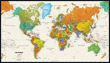 "Tyvek World Wall Map Colorful Contemporary Updated 2016 28.5"" x 50"""
