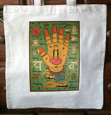 Eco friendly shabby chic cotton tote bag - yantra print from Rajasthan