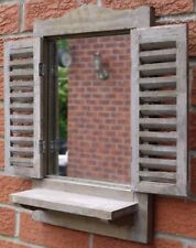 NEW Rustic Natural Washed Wood Wooden Shutter Mirror With Shelf Garden Outdoor