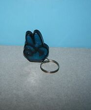 Older 2 Two Fingers Salute Peace Sign Molded Sparkle Blue Thick Molded Keychain