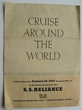 Brochure For Reliance Cruise Around The World 1937 Itinerary & Shore Excursions