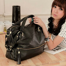 Korean Fashion Big Capacity Black Womens Shoulder Handbag PU Leather Bag Hobo