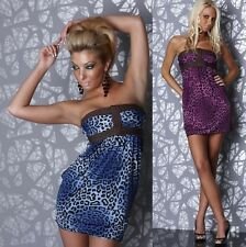 451 SUMER STRAPLESS MINI DRESS TUNIC LONG TOP BLUE/LEOPARD COLOUR SIZE L/XL