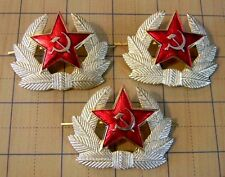 lot of 3 Russia Army military Red Star Beret pin 2- prong hat badge Soviet USSR