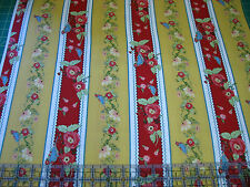3 Yards Quilt Cotton Fabric - ITB Ranunculus Floral Bird Stripe Mustard Red