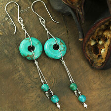 925 Sterling Silver Turquoise Dangle Earrings Artisan Handmade Jewelry X650
