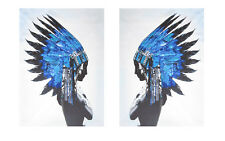 A1 x2 SIZE PRINT INDIAN BLUE FEATHER NATIVE AMERICAN  POSTER WALL DECOR