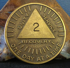 """Rare AA 2 Year/month One Day at a Time""""Sunshine"""" Bronze Medallion token chip L2"""