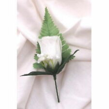 5 Fine silk White Rose button holes with leaves & Gyp