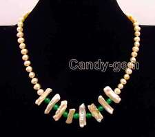 Pink 6-7mm round pearl and 15-25mm Biwa Pearl & Green Jade 17'' Necklace-n6171